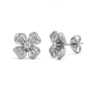flower earrings in white gold, $750