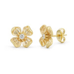flower earrings in yellow gold, $750