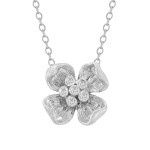 multi-diamond flower necklace in white gold