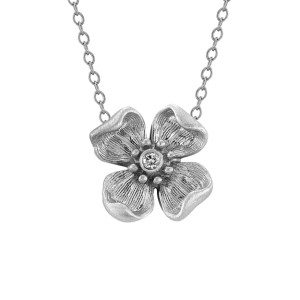 flower necklace in white gold, $425
