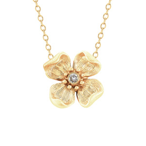 flower necklace in gold plate, $175