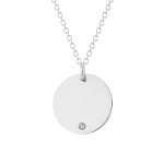 dainty disc with diamond accent in white gold, $350