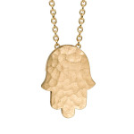 hammered necklace hamsa in yellow gold, $275