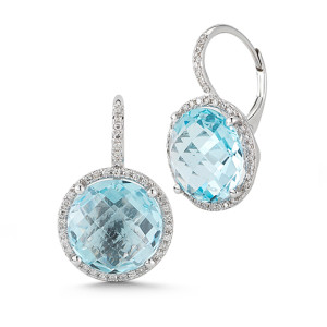 blue topaz + diamond halo earrings