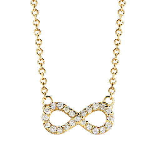diamond infinity necklace in yellow gold