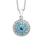 diamond + topaz evil eye necklace