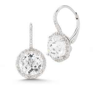white topaz + diamond halo earrings
